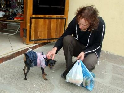 Katrin lobt den Posing-Hund in San Gil