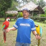 Mann mit zwei Ara am Ufer des Amazonas in Kolumbien bei Leticia